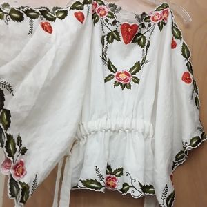 Fillyboo Embroidered White Flowy Floral Ivy Top